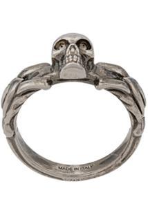 Alexander Mcqueen Skull Detail Ring - Prateado