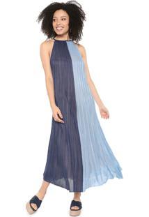 Vestido Cantão Midi Tricot Color Block Azul