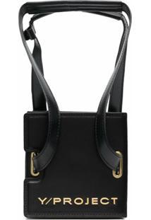 Y/Project Accordion-Style Leather Shoulder Bag - Preto