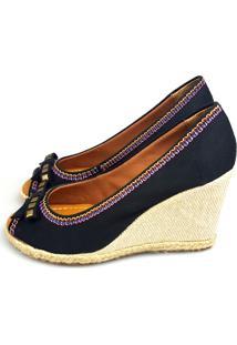 Anabela Love Shoes Alta Espadrille Laço Spike Preto