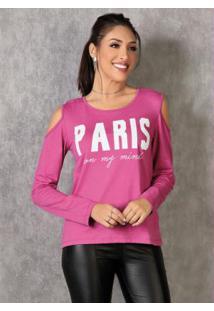 Blusa Pink Com Ombros Vazados