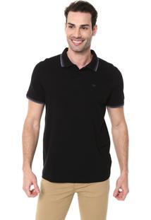 Camisa Polo Colombo Reta Logo Preta/Cinza
