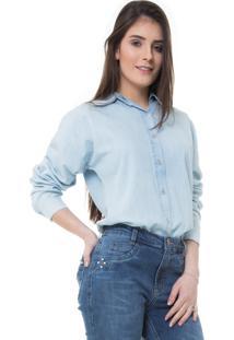 Camisa Rosa Line Jeans Classic Com Transpasse Nas Costas