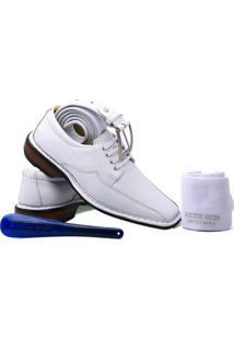Kit Masculino Sapato+Cinto+Meia+Calçadeira Doctor Shoes - Masculino-Branco