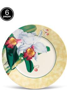 Conjunto 6Pçs Pratos Rasos Porto Brasil Mônaco Orchids Branco