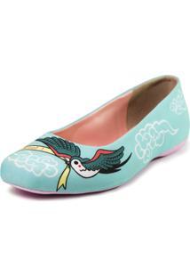 Sapatilha Shoes Inbox Bico Quadrado Cupcakes Shoes Feminino - Feminino-Azul Claro