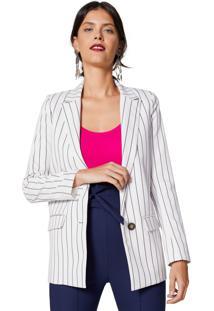 Blazer Amaro Fashion Summer Alongado Listrado Preto Fino - Multicolorido/Preto - Feminino - Dafiti