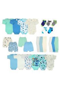 Kit Roupa Bebê 25 Peças Enxoval Completo Azul