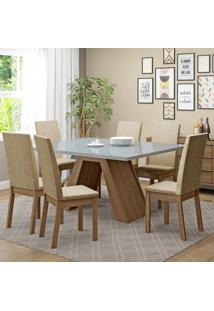 Conjunto Sala De Jantar Vênus Madesa Mesa Tampo De Vidro Com 6 Cadeiras