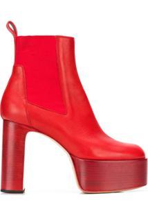 Rick Owens Ankle Boot Kiss - Vermelho