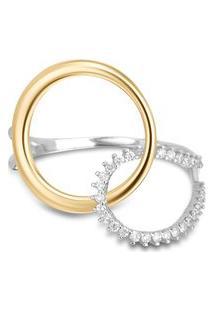 Anel Circolare Ouro Amarelo Ouro Branco E Diamantes Pequeno