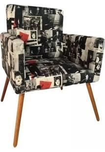 Poltrona Decorativa Nina Suede Charlie Chaplin Vintage - Ds Móveis