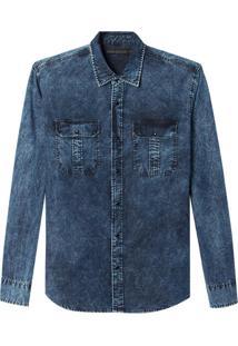 Camisa John John Lucas Jeans Azul Masculina (Jeans Escuro, G)