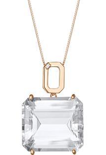 Pingente Em Ouro Rosa 18K Com Cristal De Quartzo - Veneza