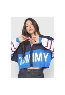 Cardigan Tricot Tommy Jeans Logo Azul-Marinho/Branco