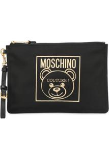 Moschino Clutch Com Detalhe De Logo - Preto