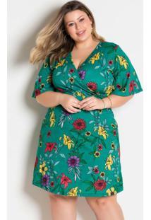 Vestido Floral Turquesa Transpassado Plus Size