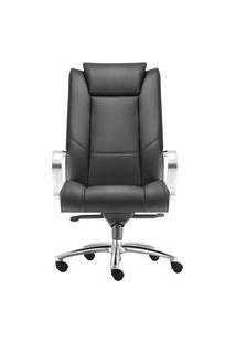 Cadeira Presidente Boss. Base E Braços Em Alumínio. Couro Ecológico. Mecanismo Função Relax. Ajuste A Gás. Rodízios Duplos. Prolabore Produtos Ergonômicos