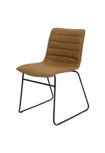 Cadeira Budd Assento Courino Caramelo Com Base Aco Preto - 47340 Preto