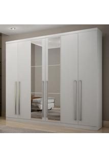 Guarda Roupa Casal Com Espelho 6 Portas 4 Gavetas Kratos Móveis Novo Horizonte Branco