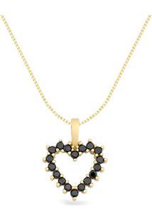 Pingente Coração Ouro Amarelo E Diamantes Negros 15 Mm
