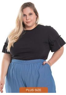 Blusa Feminina Plus Size Lisa Preto