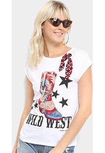 Camiseta Lez A Lez Estampada Wild West Lenço Feminina - Feminino-Branco
