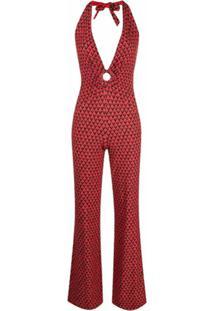 Fisico Geometric-Print V-Neck Jumpsuit - Vermelho