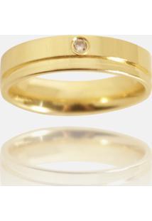 Aliança Clássica Semijoia Banho De Ouro 18K Anatômica Quadrada Com Friso 5 Mm E Ponto De Zircônia - Kanui