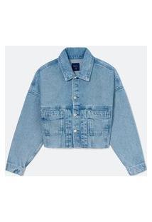 Jaqueta Cropped Cava Deslocada Bolsos Aplicados Em Jeans | Blue Steel | Azul | M