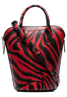 Calvin Klein 205W39Nyc Bolsa Bucket Dalton Mini De Couro Estampada - Vermelho