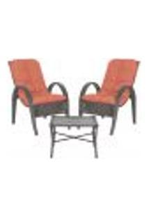 Jogo Cadeiras 2Un E Mesa P/ Jardim Edicula Varanda Descanso Trama Napoli Plus Tabaco A40