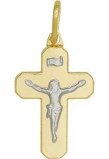 Pingente Prata Mil Cruz Lisa Com Cristo Dourado