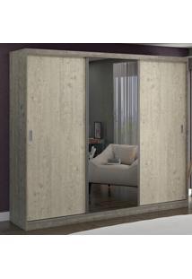 Guarda-Roupa Casal 3 Portas Com 1 Espelho 100% Mdf 1904E1 Demol/Marfim Areia - Foscarini