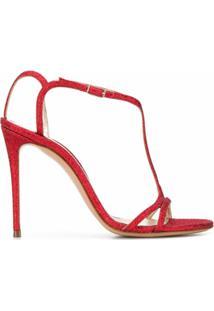 Casadei Sandália Salto Agulha Com Glitter - Vermelho