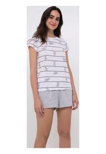 Pijama Manga Curta Estampa Pernalonga