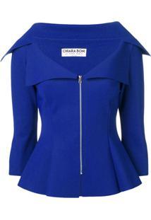 Le Petite Robe Di Chiara Boni Jaqueta Slim Com Zíper - Azul