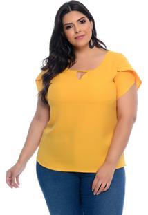 Blusa Plus Size Camisaria Prelúdio Amarela Poli