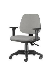 Cadeira Job Com Bracos Assento Courino Cinza Claro Base Nylon Arcada - 54610 Cinza