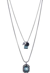 Colar Armazem Rr Bijoux Duplo Cristal Quadrado Azul