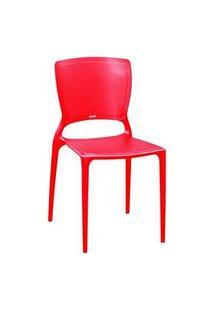 Cadeira Tramontina Sofia Encosto Fechado Vermelha Vermelho