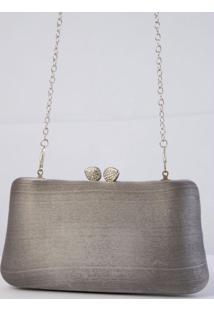 Bolsa Clutch Cinza Forrada Em Tecido
