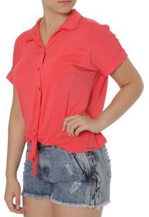 Camisa Manga Curta Feminina Autentique Coral