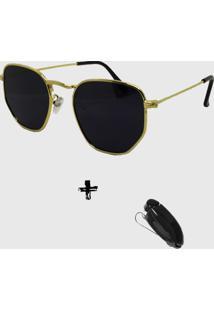 Oculos De Sol Feminino Volpz Hexagonal Dourado Com Suporte Veicular