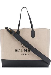 Balmain Faded Logo-Print Shopping Tote - Neutro