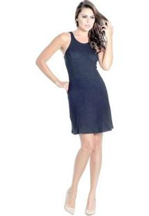 Vestido Evasê Zíperosterior Recortes Colcci - Feminino-Marinho