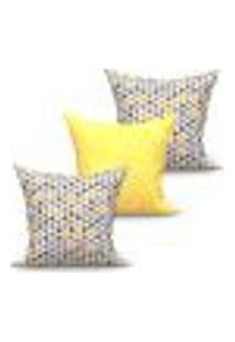 Conjunto De Capas De Almofadas Com 3 Peças Triângulo Medalhão Amarelo E Cinza 45X45 Cm