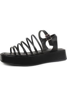 Sandália Plataforma Damannu Shoes Doris Preto