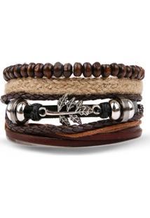 Bracelete 4 Em 1 Pulseira Artestore Em Couro Marrom Com Corda - Tricae