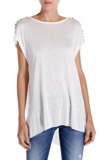 Camiseta John John Back Knot Malha Off White Feminina (Off White, M)